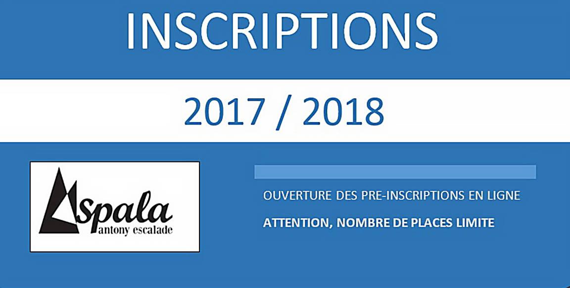 Inscriptions 2017 / 2018