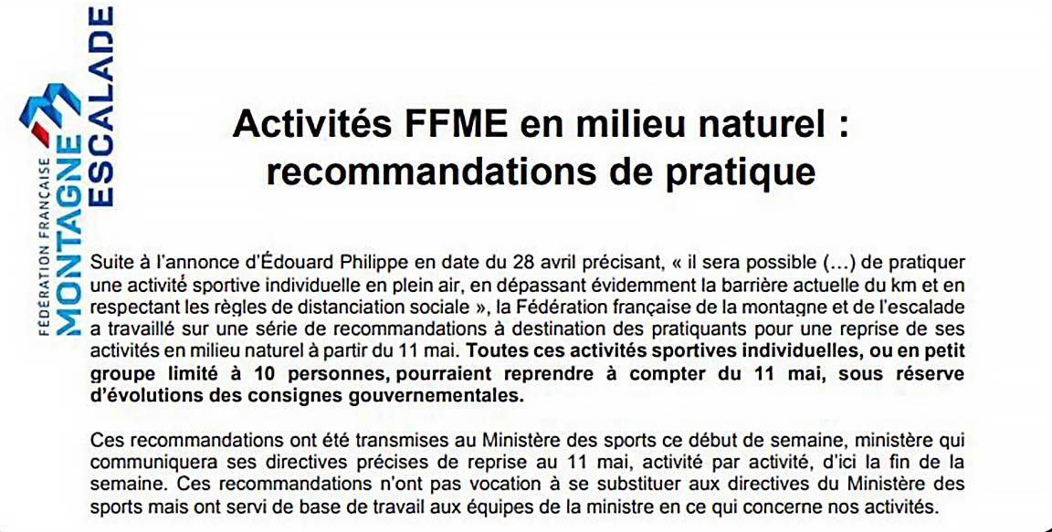 Recommandations de pratique de la FFME.
